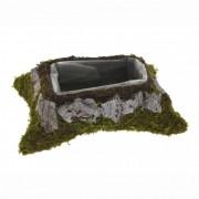 Kaspó szögletes moha-kéreg 26x18cm zöld-szürke
