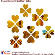 Look Decor-12 Large 12 Small Heart-(Golden-Pack of 24)-3D Acrylic Mirror Wall Stickers Decoration for Home Wall Office Wall Stylish and Latest Product Code Number 1469