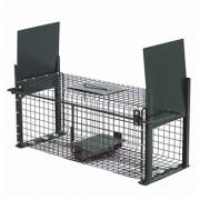 Capcană (cușcă) din metal cu două deschideri pentru șobolani, pârși 50x18x18 cm