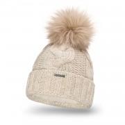 Zimowa czapka damska gruby warkocz PaMaMi - Beżowy