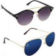Aventus Round, Aviator Sunglasses(Black, Blue)