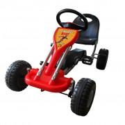 vidaXL Детски картинг с педали, цвят червен