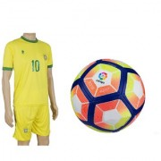 Combo of Laliga Red/Yellow Football (Size-5) with Suit (Jersey + Shorts)