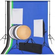 vidaXL Kit estúdio fotográfico c/ 5 fundos coloridos e 2 softboxes