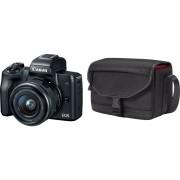 CANON Hybride camera EOS M50 Zwart + 15-45 mm + Tas SB130 + SD 16GB (2680C064AA)