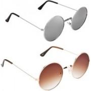 Rich Club Round Sunglasses(Brown, Silver)