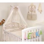 Mama Kiddies Baby Bear 6 részes babaágynemű 180°-os rácsvédővel bézs macis mintával