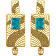 Spargz Antique Filigree Work Gold Plated Square Shape Blue AD Stone Long Indian Style Dangle Earrings For Women AIER 134