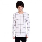 PAUSE White Printed Round Neck Slim Fit Full Sleeve Men's T-Shirt