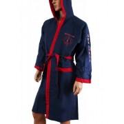 Navigare Стильный мужской халат с капюшоном синего цвета с красным оформлением Navigare sport васильковый (bluette)