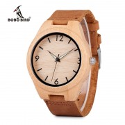 BOBO BIRD Minimalist Natural Men Bamboo Wooden Watch with Leather Strap in Gift Box