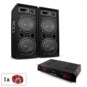 "Electronic-Star PA Set ""Malone SPL Bluetooth MP3"" Paar 2x12"" Lautsprecher & Verstärker 1500W"