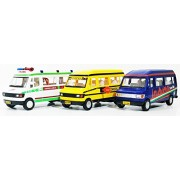 3 Combo - Traveler kit - Travel India, Ambulance, School Bus (Blue Green Yellow)