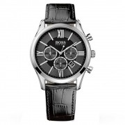 Hugo Boss 1513194 argento e nero Watch in pelle Ambassador uomo cro...