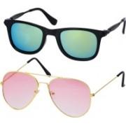 Freny Exim Aviator, Wayfarer Sunglasses(Golden, Green)