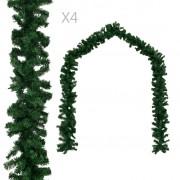 vidaXL Коледни гирлянди, 4 бр, зелени, 270 см, PVC