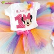 Set Rochiță Tutu - Rainbow Minnie Mouse