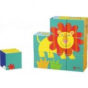 Blocuri Puzzle din lemn Piața animale sălbatice Lumea Classic
