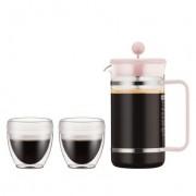Bodum BISTROSET Cafetière à piston, 8 tasses, 1.0 l, PC incassable, et 2 gobelets PAVINA OUTDOOR, 0.25 l Strawberry