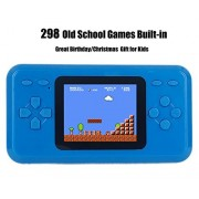 Jjfun Rs-28 Handheld Game Console for Kids,Classic Retro Player with 2.4 8-Bit LCD Portable Video Games,The 80'S Arcade Gaming System,Built-in 298 Old School Games Entertainment-Blue