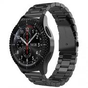Simpeak Correa Compatible para Samsung Gear S3 Frontier/Classic, Compatible con Samsung Galaxy Watch 3 45mm/Galaxy Watch 46mm, Acero Inoxidable Banda de Reemplazo Tres Hebilla de Cuentas Diseño Correa Negro
