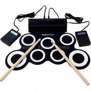 Electronic Drum Set, FOME Portable Silicone Foldable Waterproof Digital Hand Roll up Drum Pad Set Jazz Electronic Drums Sets for Kids with Drumsticks Foot Pedals and USB Powered Connect with Computer