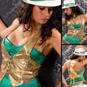 Gilet sexy à paillettes dorées