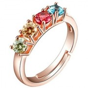 Delightful Multicolours Adjustable Ring For Women & Girls Stainless Steel Cubic Zirconia Zirconia Rose Gold Plated Ring