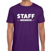Bellatio Decorations Staff member / personeel tekst t-shirt paars heren XL - Feestshirts