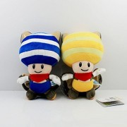 "Super Mario Bros Plush 9""/23cm Flying Squirrel Yellow & Blue Toad 2pcs Set Doll Stuffed Animals Figure Soft Anime Collection Toy"