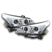 FK-Automotive fari Angel Eyes LED xeno BMW serie 5 E60/E61 anno di costr. 03-04 cromato RHD - volante a destra