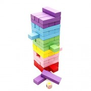 Lewo Deluxe 48 Pieces Block Games Party Games Toys Colorful Wooden Blocks Set Drinking Game Education Toy For Kids