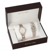 SKYLINE dámská dárková sada stříbrnorůžové hodinky s náramkem 2950-10