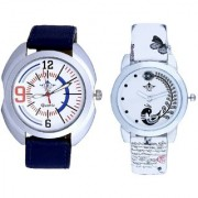 Blue Sport Leather Strap And White Peacock Feathers Couple Casual Analogue Wrist Watch By Taj Avenue