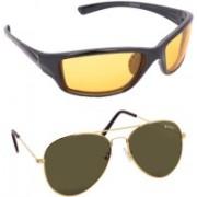 Benour Wrap-around, Aviator Sunglasses(Yellow, Green)