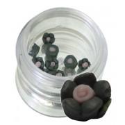 Flori negre din material ceramic pentru NailArt – 5 mm 01
