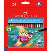 Creioane colorate, 24 culori + pensula/set, FABER CASTEL Acuarela