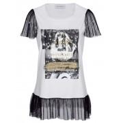 AMY VERMONT Shirt, Damen, weiß, mit Druck und Pailletten im Vorderteil