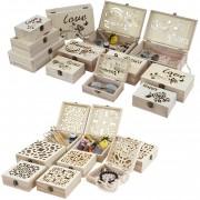 12er Set Holzbox T281, Aufbewahrungsbox Schmuckkästchen Geschenkbox Sammlerbox ~ Variantenangebot