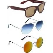 Zyaden Wayfarer, Aviator, Round Sunglasses(Brown, Blue, Multicolor)