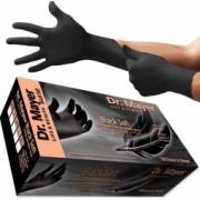 Set 100 bucati Manusi Dr. Mayer Black Soft Nitril texturate nepudrate negre marimea L