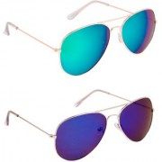 TheWhoop UV Protected Green And Blue Mercury Aviator Premium Sunglasses For Men Women Boys Girls