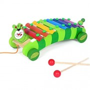 BabyPrice Wooden 8 Notes Xylophone Rainbow Colorful Hand Knock Piano Musical Toy Pulling Toy for Toddler, Inchworm Trailer