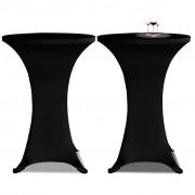 vidaXL Potahy na koktejlový stůl Ø 80 cm, černé strečové, 2 ks