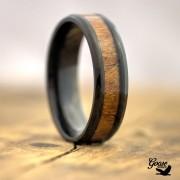 Dark Titanium Ring with Real Wood Inlay - US10