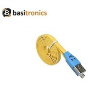 Basitronics Flat Smile Micro USB Charging and Data cable 3 Feet 0.9 Meters Yellow