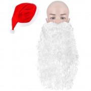 Caciula de Mos Craciun universala, 39 x 60 cm, rosu + barba lunga CADOU