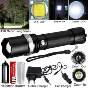 450 Meter Zoomable 3 Mode Rechargeable Waterproof Metal LED Flashlight Torch Searchlight Outdoor/Emergency Light 12W
