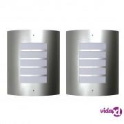 vidaXL Dvije vodootporne zidne lampe od nehrđajućeg čelika 60 W