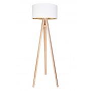 Stehleuchte Jalua F Velours white & gold mit Dreibein aus Holz H: 140cm 10785